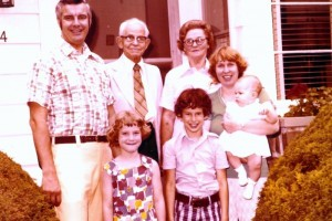 Me (standing in the front, 7 yrs old) with my brother Mark (9 yrs old), baby sister Debbie (7 months old), our Dad & Mom, and Grandma & Grandpa (Mom's parents). We're on the steps of Grandma & Grandpa's home at 4 Willo Lane in Loudenville, NY on their 50th Wedding Anniversary (June 29, 1977)