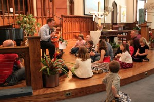 Kenis Sweet leading the children's message at Christ Church in Glens Falls, New York