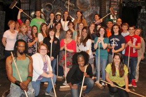 "Members of the Warrensburg High School Band and chaperones (including me -- but I'm behind the camera!) on the set of ""Stomp"" in NYC (April 20, 2012)"