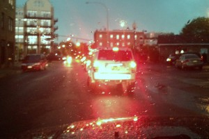 Driving in the rain in downtown Glens Falls, NY
